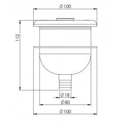 boîtier immergé avec bouton piezo électrique en inox avec collerette d'insertion béton