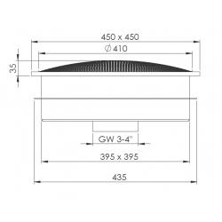 plan bonde de fond carré inox pour béton/carrelage