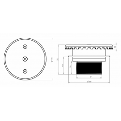 Plan refoulement de fond inox 360° Stainless steel 360° bottom inflow nozzle plans