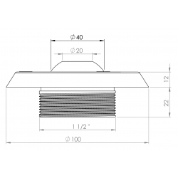 plan buse de refoulement inox stainless steel inflow nozzle plan